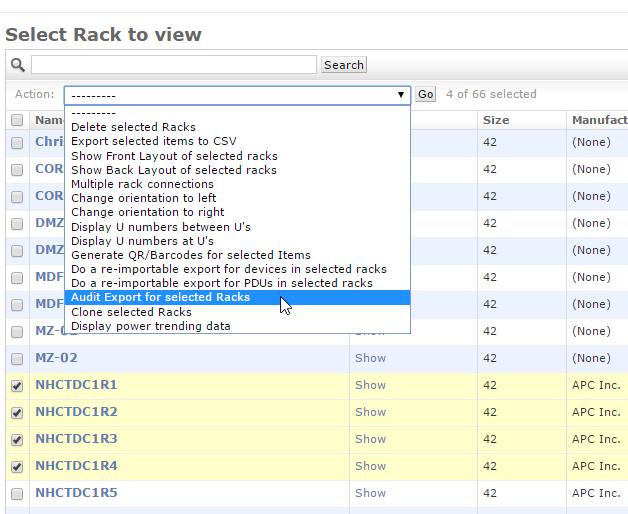 Audit Export Racks