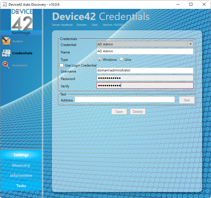 Device42 Credentials
