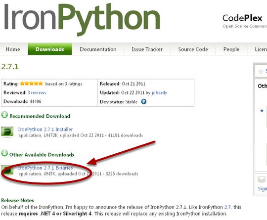 1. Install IronPython Binaries