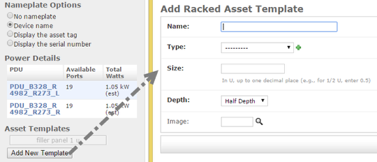 Add new asset template from the rack layout