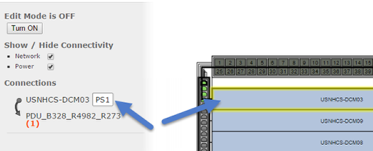 Selected/highlighted paths and port label display in physical connectivity layouts