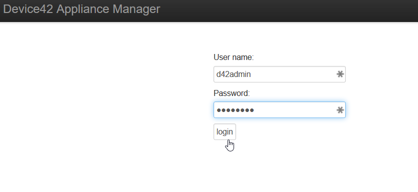 Appliance Manager Login