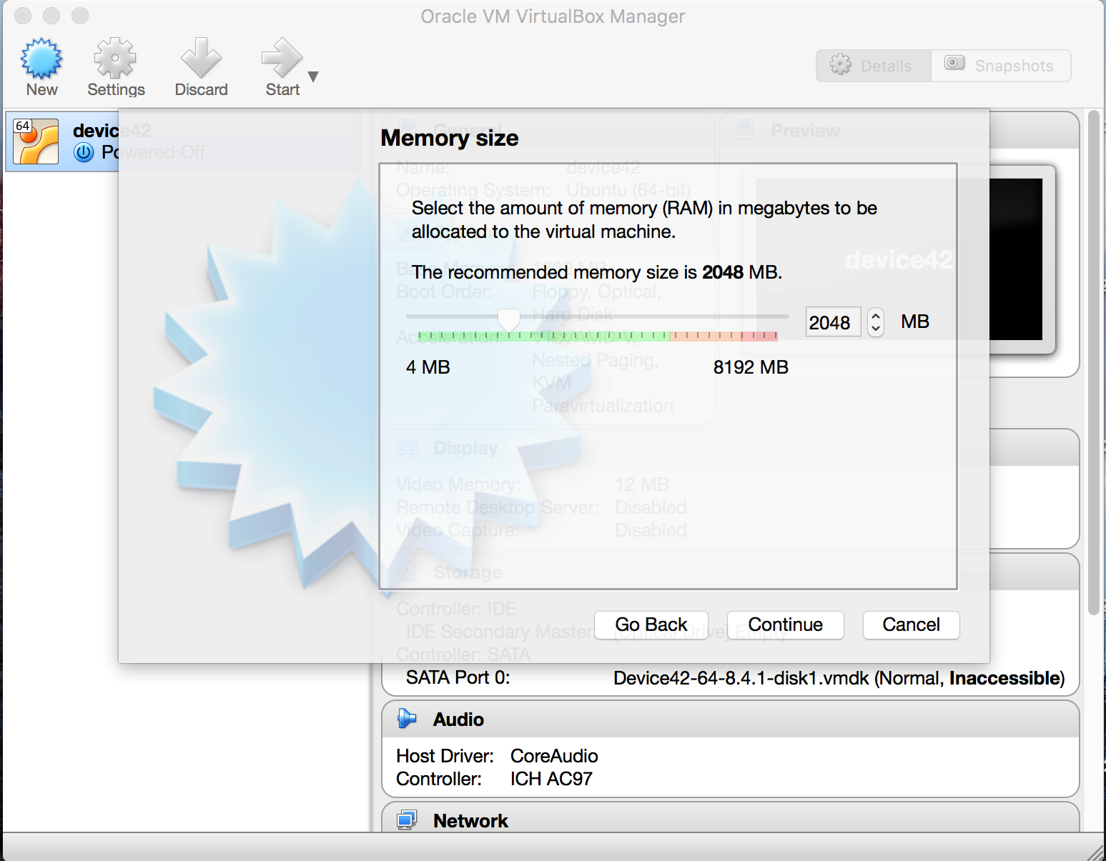 Memory settings