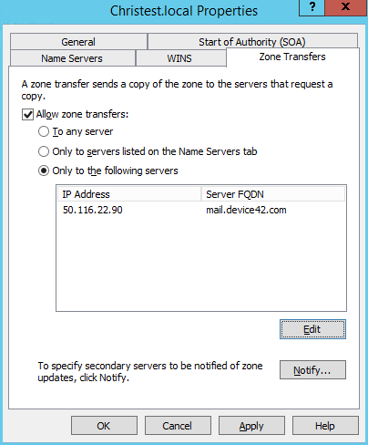 2. Allow device42 virtual appliance IP