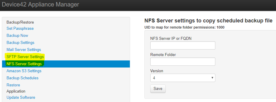 Configure NFS and SFTP Server Settings
