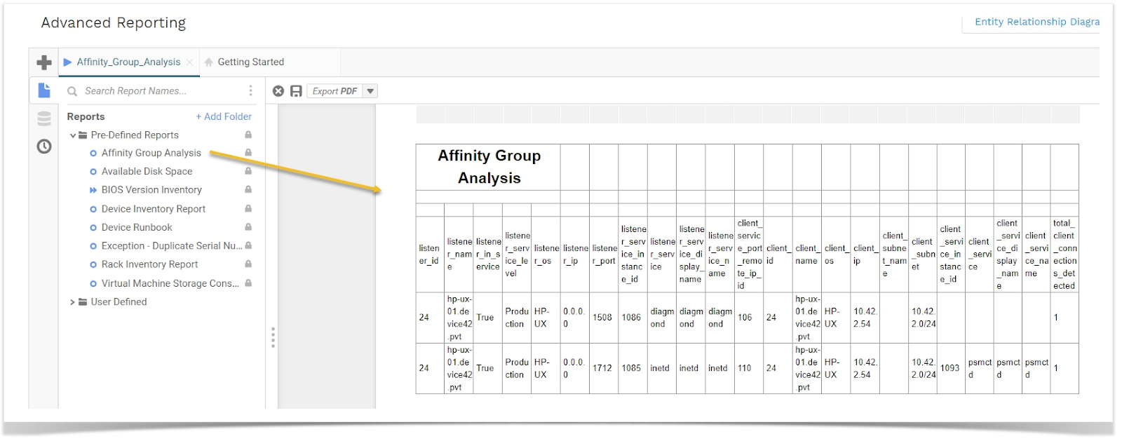 Run Affinity Group Analysis Report from Advanced Reporting