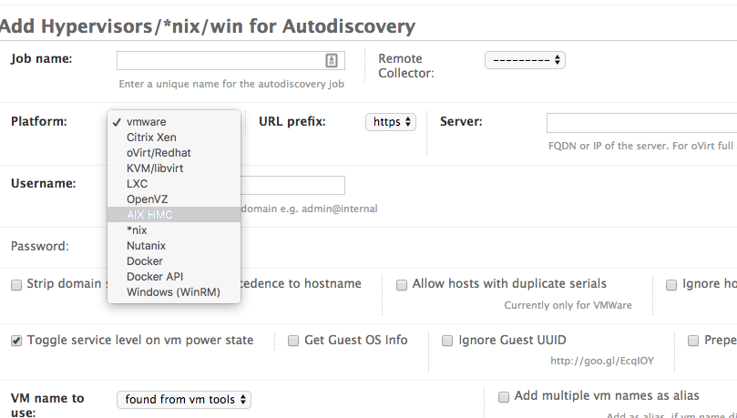 Setting up VMware/Citrix Xenserver/Ovirt auto-discovery