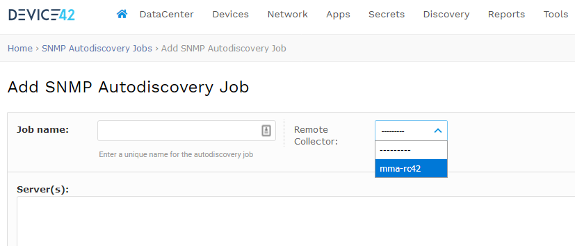 Add SNMP autodiscovery and select Remote Collector