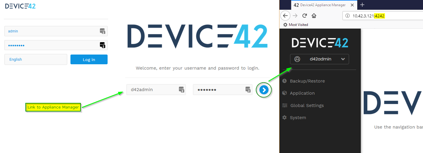 D42 Appliance Manager Link and Login Process v15+