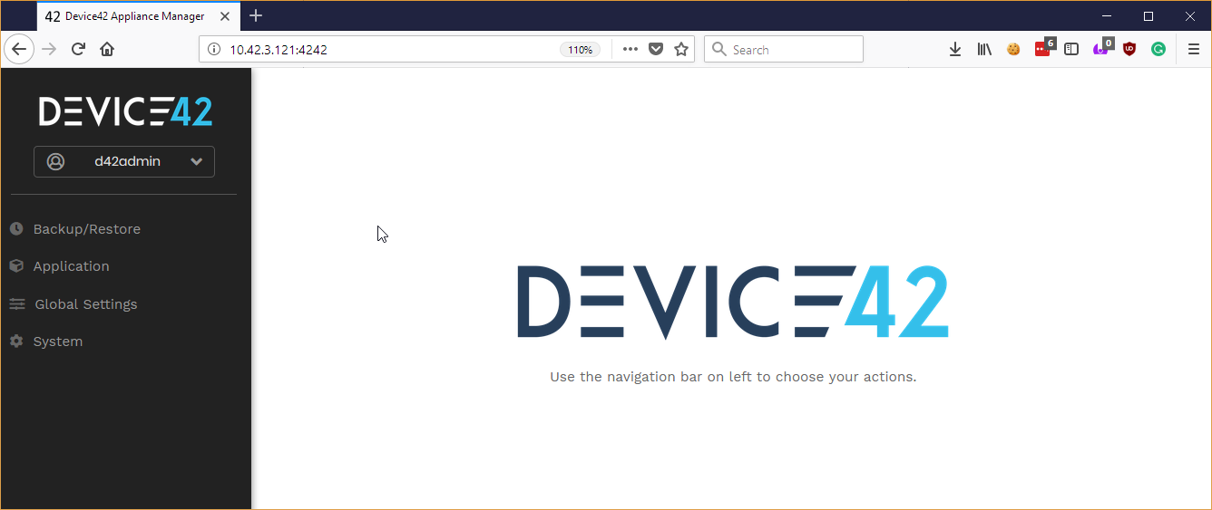 Device42 Appliance Manager Home Screen v15
