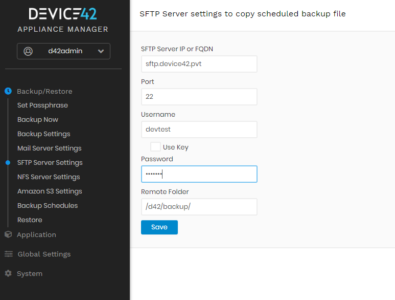 Configure NFS or SFTP Server Settings