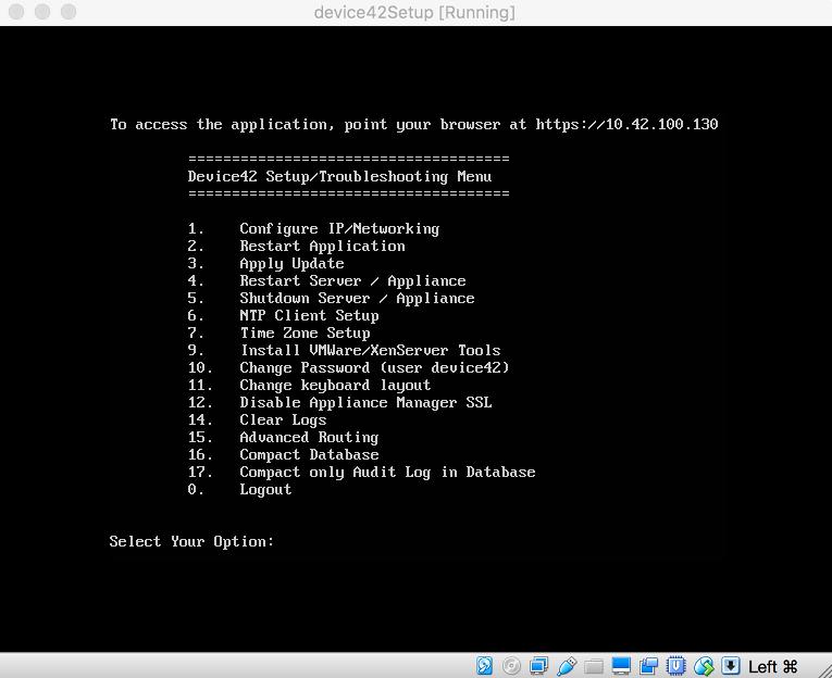 Device42 menu