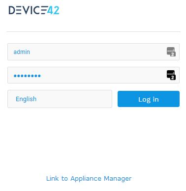 Device42 Web Login Screen