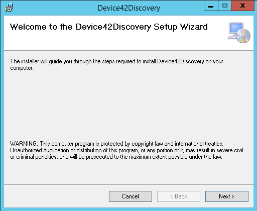 Run Device42Discovery.msi