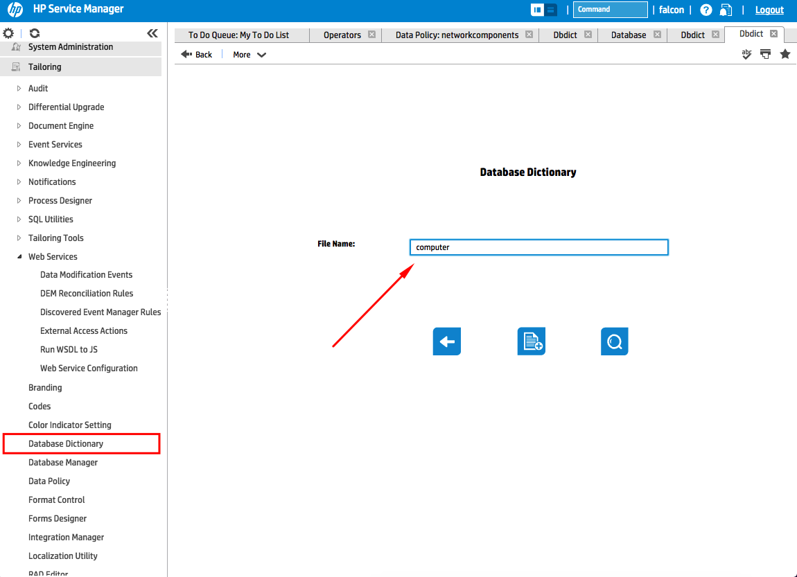 Configure HPSM Databse Dictionary fields
