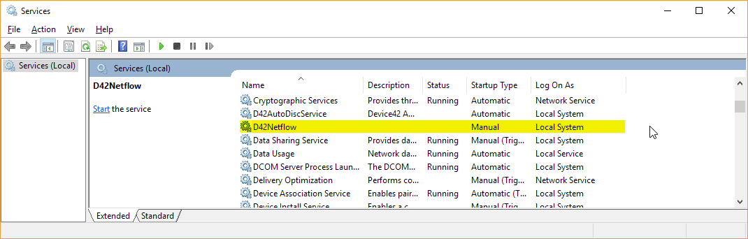 See D42Netflow in services.msc