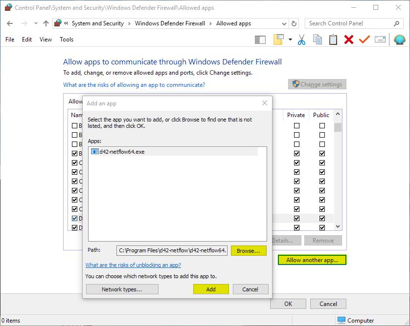 Allow D42Netflow through Windows Firewall