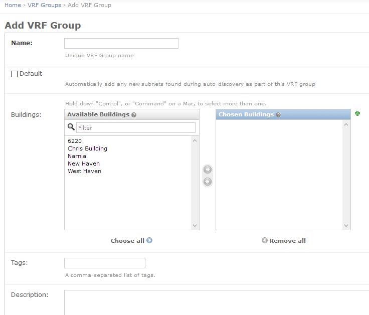 VRF group edit page