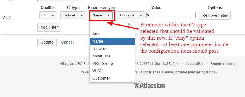 Filter parameter