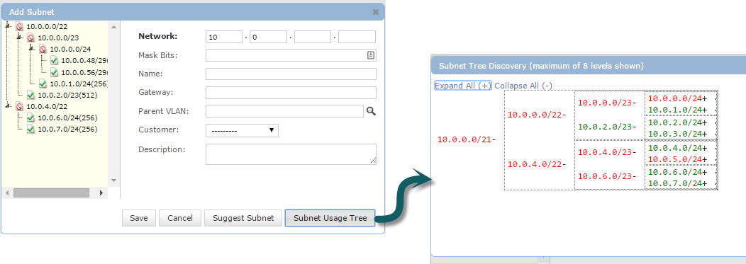 View available subnets from the tree view