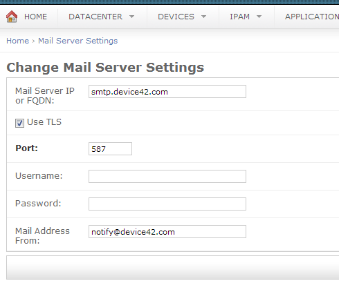 Mail server settings for scheduling reports