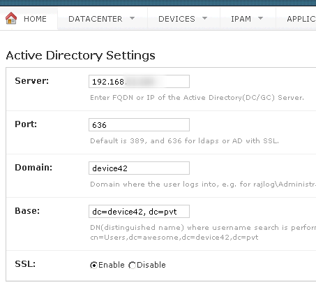 Add Active Directory Settings