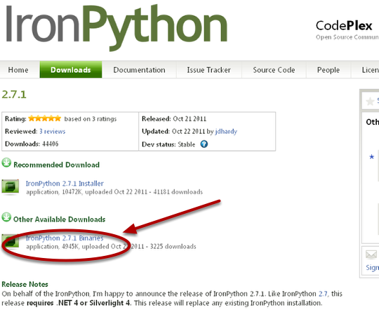 1. Install IronPython Binaries