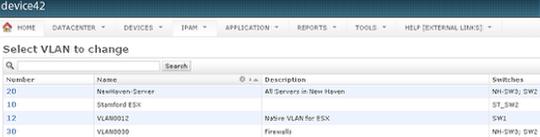 VLAN list page