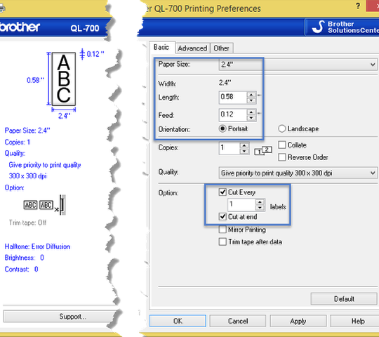 Installing printer driver and configuring the properties for Bar Codes