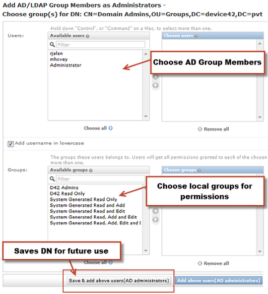 Choose members and groups for administrators (for permission)