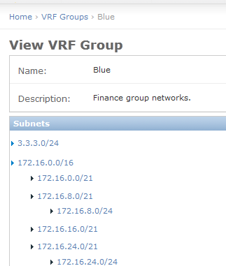 VRF group view page